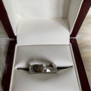 Xen stainless steel diamond ring, 6.5